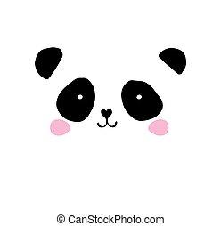 cute, elementos, ícones, urso, mão, panda, vetorial, pretas, desenhado, branca, ilustrações