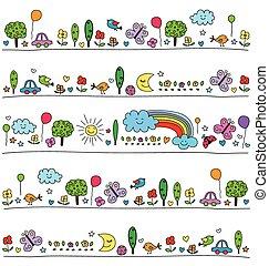 cute, elementos, coloridos, natureza, padrão, crianças