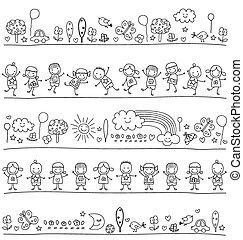 cute, elementos, crianças, padrão, natureza