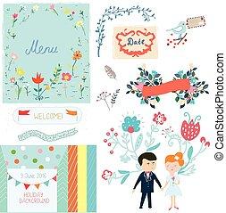 cute, elementos, desenho, casório