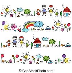 cute, elementos, família feliz, natureza