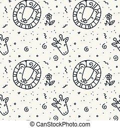 cute, elementos, padrão, seamless, doodle