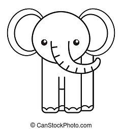 cute elephant animal tender isolated icon