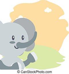 cute elephant baby animal isolated icon