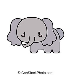 cute elephant baby kawaii, line and fill style icon