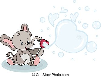 Cute elephant blowing soap bubbles