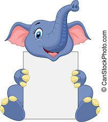Cute elephant cartoon holding blank