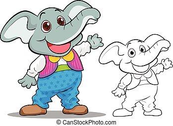 Cute elephant cartoon mascot
