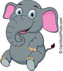 Vector illustration of cute elephant cartoon sitting eps ...
