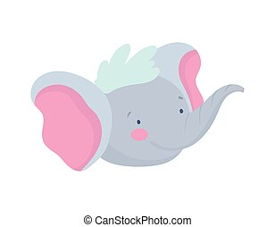 cute elephant face cartoon character on white background