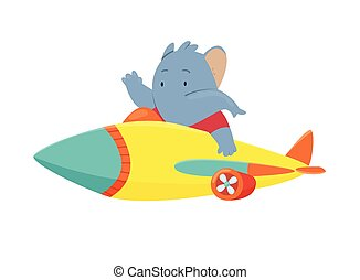 Cute elephant flying an airplane. Funny pilot flying on planes. Cartoon vector illustration isolated on a white background
