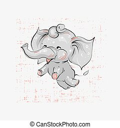 Cute elephant flying hand drawn vector illustration. Can be used for t-shirt print, kids wear fashion design, baby shower invitation card.