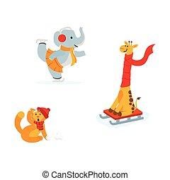Cute elephant, giraffe. cat having fun in winter