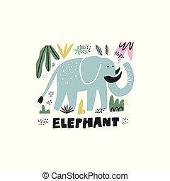 Cute elephant hand drawn vector illustration