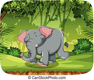 Cute elephant in nature scene
