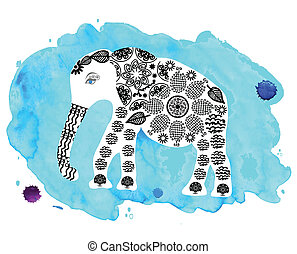 Cute elephant on blue watercolor background
