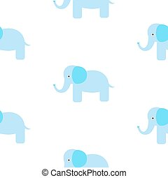 Cute elephant seamless vector pattern.