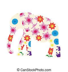 Cute elephant silhouette, vector