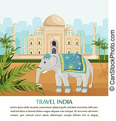 Cute Elephant symbol of India country Vector. Taj Mahal on backgrounds