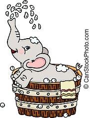 Cute elephant taking a bath in wooden tub