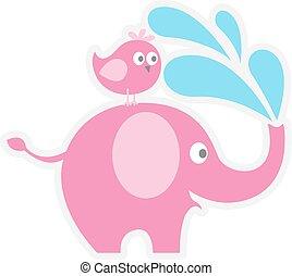 cute elephant with a bird on its back