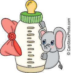 Cute elephant with baby milk bottle