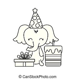 cute elephant with cake of birthday and gift box