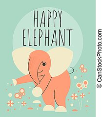 Cute elephant with flowers and plants greeting card
