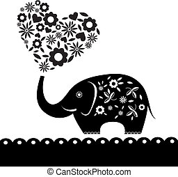 cute elephant with flowers. Heart card. Vector illustration.