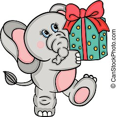 Cute elephant with gift
