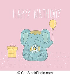 Cute elephant with gifts and balloons. Cartoon character