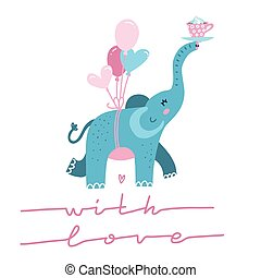 Cute elephant with heart shaped balloon cartoon character. Line Lettering quote - With love - for t-shirt print, kids wear fashion design, Valentine s card. Hand drawn flat vector illustration