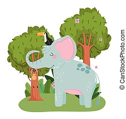 cute elephant with toucan and monkey hanging on branch grass foliage nature wild cartoon