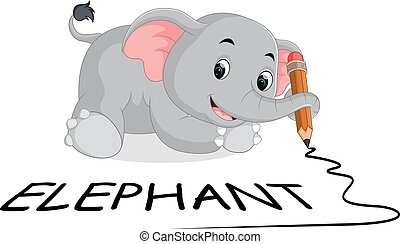 cute elephants holding pencil - illustration of cute...