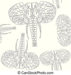 cute elephants seamless vector pattern background illustration