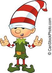 Cute Elf - Confused - A cartoon illustration of a cute...