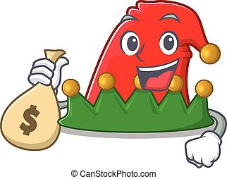 Cute elf hat cartoon character smiley with money bag