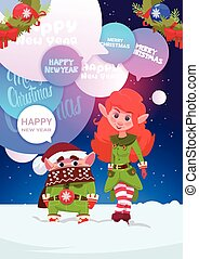 Cute Elfs Couple Greeting With Merry Christmas And Happy New Year Holiday Card