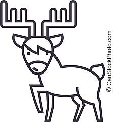 cute elk vector line icon, sign, illustration on background, editable strokes