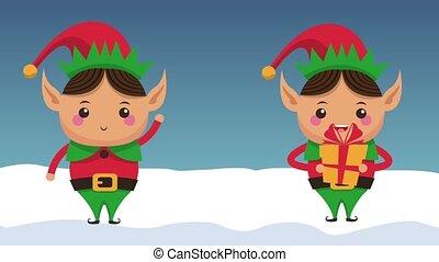 Cute elves christmas cartoons HD animation