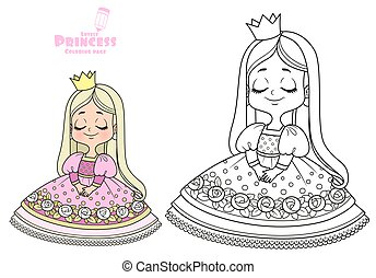 Cute embarrassed princess in a pink dress outlined and color for coloring book