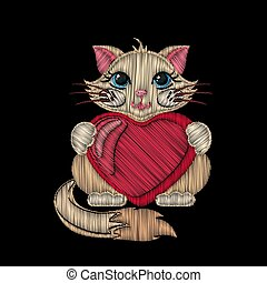 Cute embroidered cat with heart for kids fashion design.