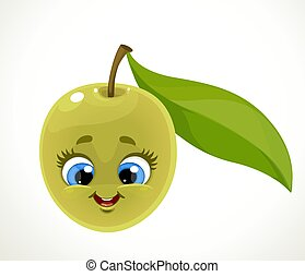 Cute emoji green olive with leaf isolated on white background