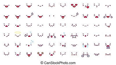 Cute emoticon emoji faces. Cartoon kawaii face expression in japanese anime character. Manga emotion kiss, cry and angry vector icons set