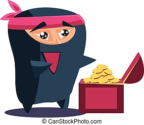 Cute Emotional Ninja Found a Chest with Treasure