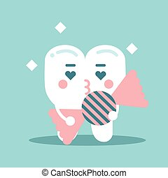 Cute enamored cartoon tooth character holding candy, dental vector Illustration for kids