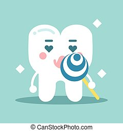 Cute enamored cartoon tooth character holding lollipop, dental vector Illustration for kids