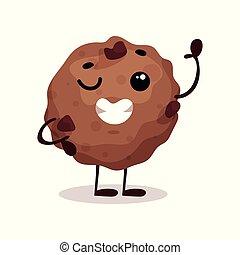 cute, engraçado, donut, caricatura, personagem, vetorial, ilustração