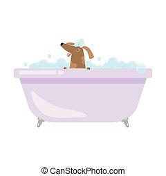 cute, engraçado, levando, cão, banho, lar, banheira