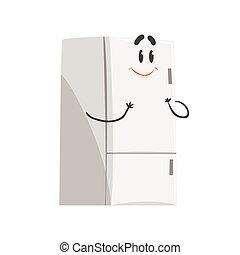 cute, engraçado, personagem, dispositivo, refrigerador, ilustração, vetorial, lar, sorrindo, humanized, caricatura